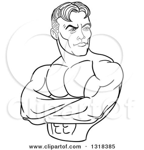 Outline Of A Bodybuilder by Clipart Of An American Bodybuilder Flexing A Bicep Royalty Free Vector