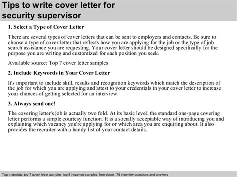 C Supervisor Cover Letter by Security Supervisor Cover Letter