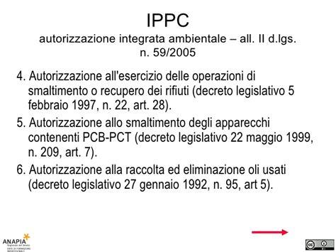 decreto ministeriale 10 febbraio 1999 n 34 corso resp 14 lezione ippc