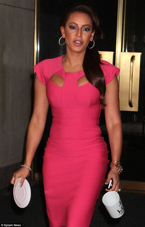 Mel Dres Pink mel b slips on tight pink cutaway dress for co hosting
