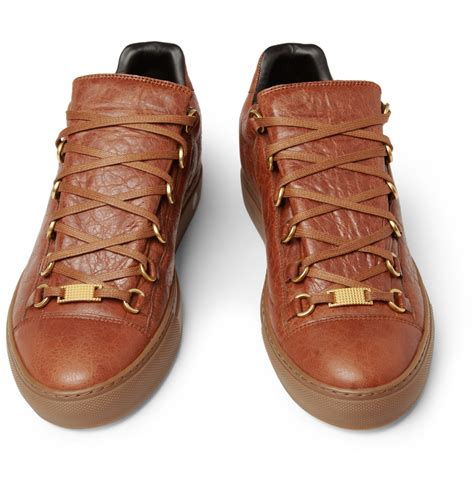 lyst balenciaga arena creased leather sneakers  brown
