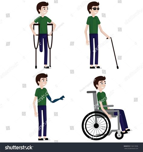 one leg wheelchair disabled set one leg wheelchair stock vector 516613936