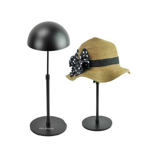 free shipping metal hat display stand black hat display