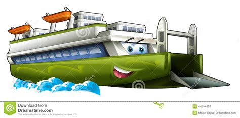ferry boat cartoon cartoon ship ferry caricature stock illustration image