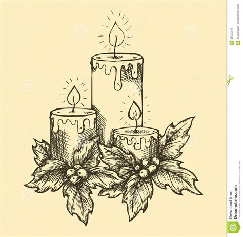 freehand tattoo pen graphic drawing candles holly berries and leaves stock