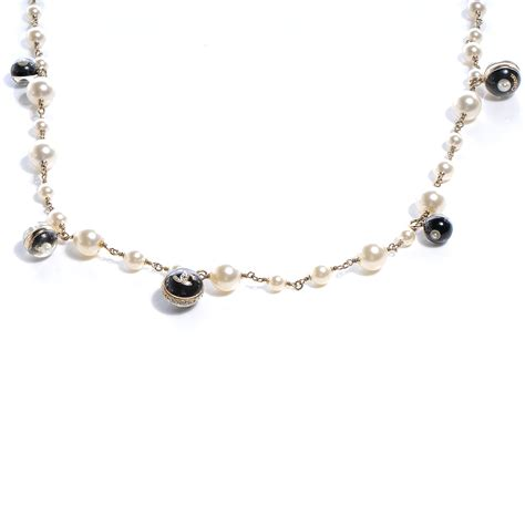 chanel beaded necklace chanel pearl cc beaded necklace 56677