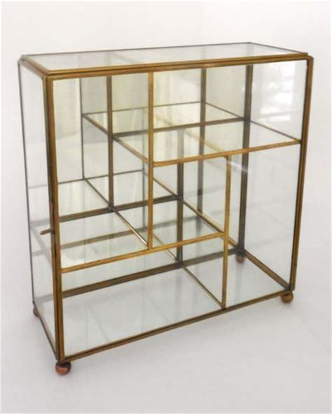 small table top curio cabinet vntg brass glass mirror table top wall curio small display