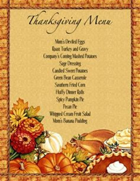 thanksgiving menu template printable 1000 images about thanksgiving on menu
