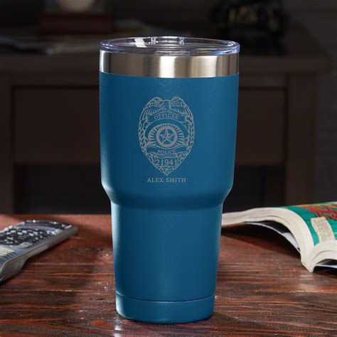 Police Badge Personalized Travel Mug   Blue