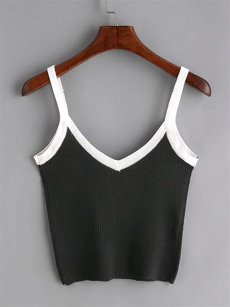 Contrast Trim Ribbed Top black contrast trim ribbed cami top romwe