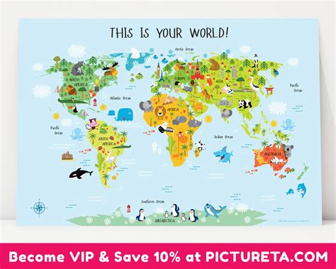 printable world poster unique baby gift childrens world map poster nursery decor