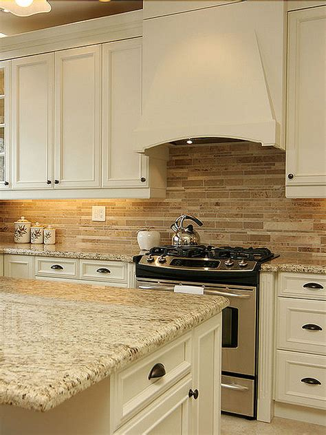 Kitchen Travertine Backsplash by Travertine Subway Mix Backsplash Tile For Kitchen