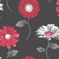 Decor Dots Muriva Daisy Floral Metallic Gerbera Flower Wallpaper Red