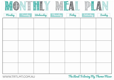 monthly dinner menu template 8 best images of meal planning template printable