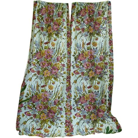 barkcloth drapes clusters of flowers leaves vintage barkcloth drapes from