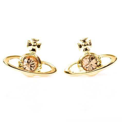 vivienne westwood gold nano solitaire women s earrings