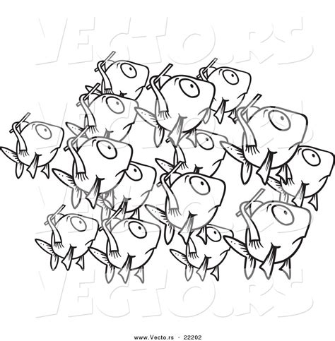 coloring page school of fish vector of a cartoon school of fish outlined coloring