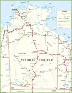 large detailed map of northern territory with cities and towns