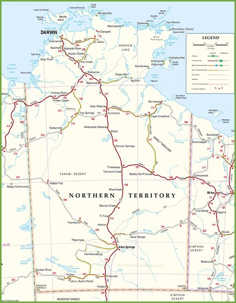 map of northern large detailed map of northern territory with cities and towns