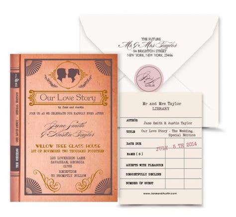 library wedding invitations vintage book wedding invitation digital custom pdf