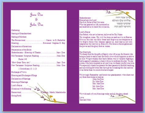 program template purple bifold wedding template wedding program templates