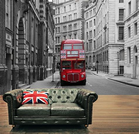 Union Jack Home Decor london city red bus union jack wall mural wallpapers