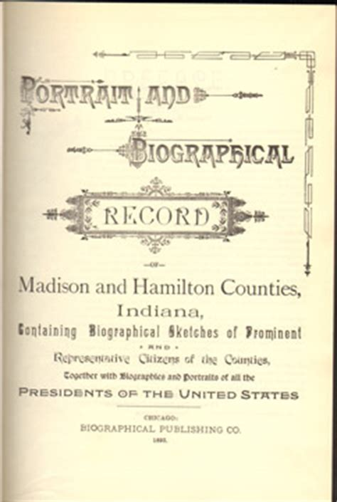 Hamilton County Indiana Divorce Records Portrait And Biographical Record Of And Hamilton Counties Indiana 1893