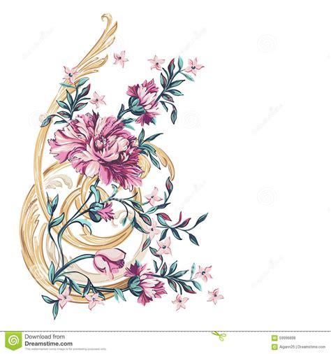 fiori di ba elemento decorativo dei fiori con il modello di barocco
