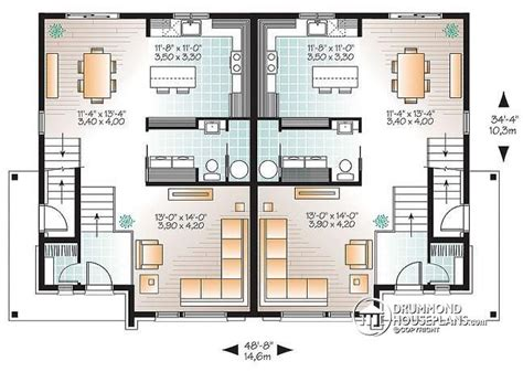 4 unit apartment building plans multi family plan w3064 detail from drummondhouseplans com