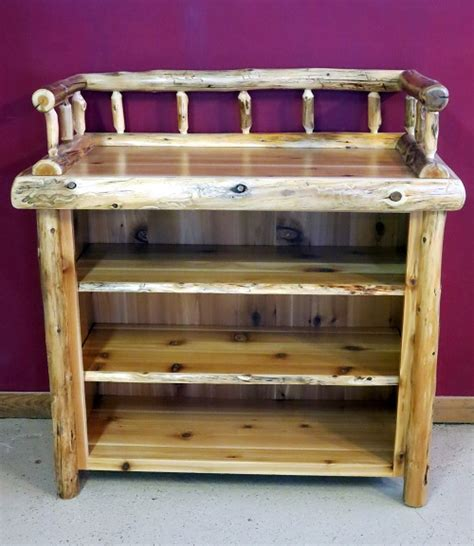 Changing Table With Shelves Log Changing Table With Shelves Barn Wood Furniture Rustic Barnwood And Log Furniture By
