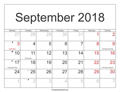 Calendar Sept 2018 September 2018 Calendar Printable With Holidays Pdf And Jpg
