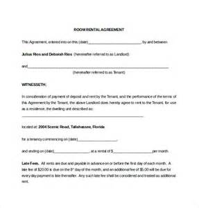 room rental agreement template printable sle room