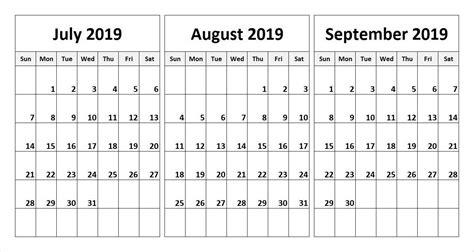 july august september  calendar   word excel