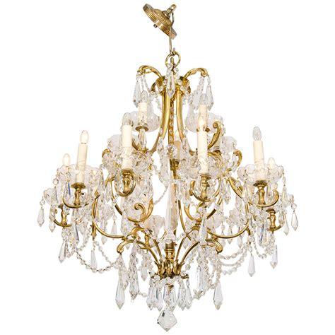 1950s Italian Fifteen Light Crystal And Brass Chandelier 1950s Chandelier