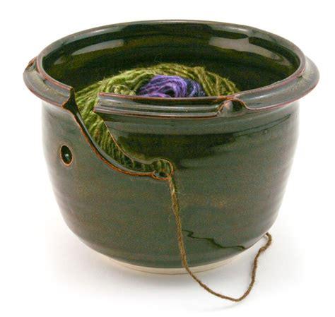 knitting bowl waterfall brown stoneware yarn bowl made in maine multi