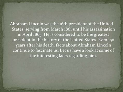 abraham lincoln facts for facts about abraham lincoln