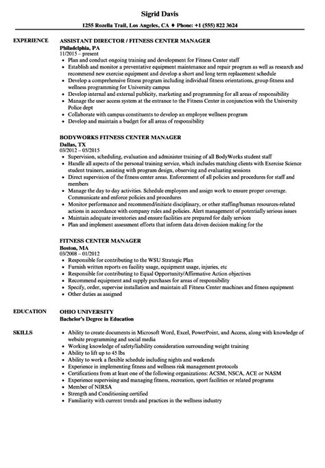 Fitness Center Manager Sle Resume by Health Fitness Specialist Sle Resume Executive Resume Template Personal Assistant Resume