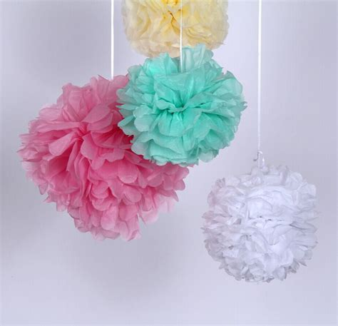 How To Make Tissue Paper Decorations For Baby Shower - aliexpress buy 12inch 30cm tissue paper pom poms