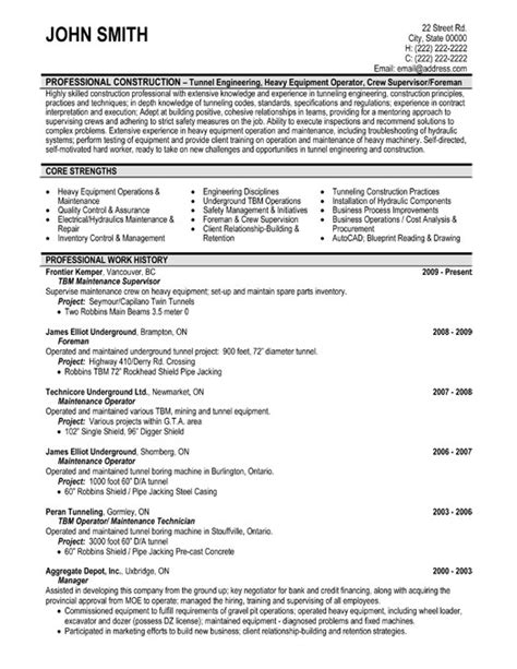 Maintenance Supervisor Resume Template Premium Resume Sles Exle Free Maintenance Resume Templates