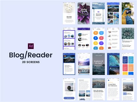 Blog Reader Screens New Picture Adobe Xd Templates Goal List Template Adobe Xd Templates Ios