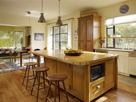butcher block kitchen island breakfast bar beautiful clavos method san francisco transitional kitchen