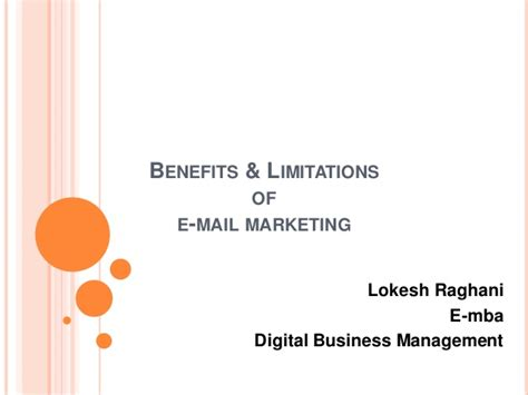 Benefits Of A Marketing Mba by Benefits Limitations Of Email Marketing
