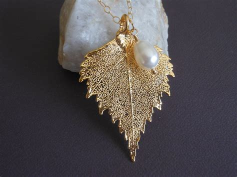 how to make real leaf jewelry gold birch leaf necklace real leaves fabulous