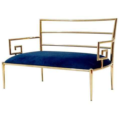 royal blue velvet bench regency brass key and blue velvet settee