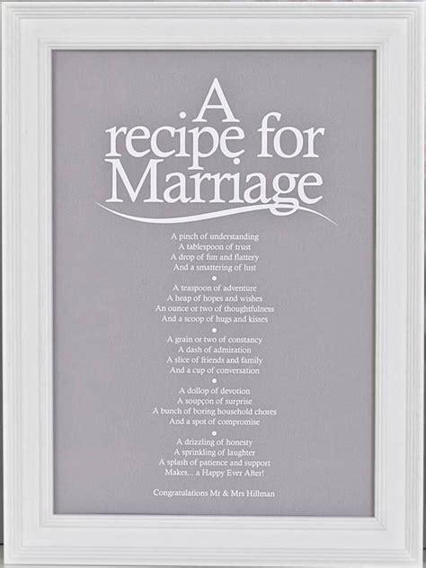 Outdoor Bridal Shower Games - bespoke verse a recipe for marriage poem print indigo blue trading