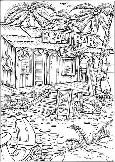 hard beach coloring pages welcome to dover publications