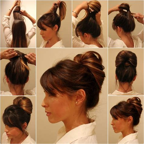 tutorial rambut updo diy elegant inside out ponytail bun hairstyle bun