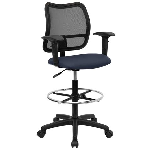 Office Desk Stool Tall Office Desk Chair Mid Back Mesh Drafting Stool Swivel