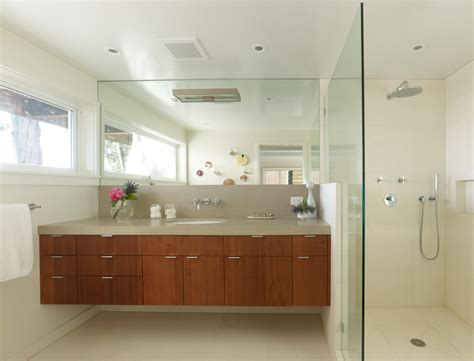 modern bathroom faucets Bathroom Midcentury with floating vanity glass vase   beeyoutifullife.com