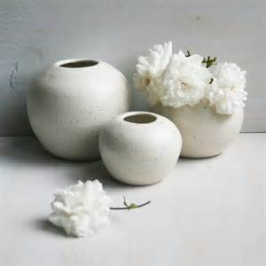 white vases set of three simple white ceramic by